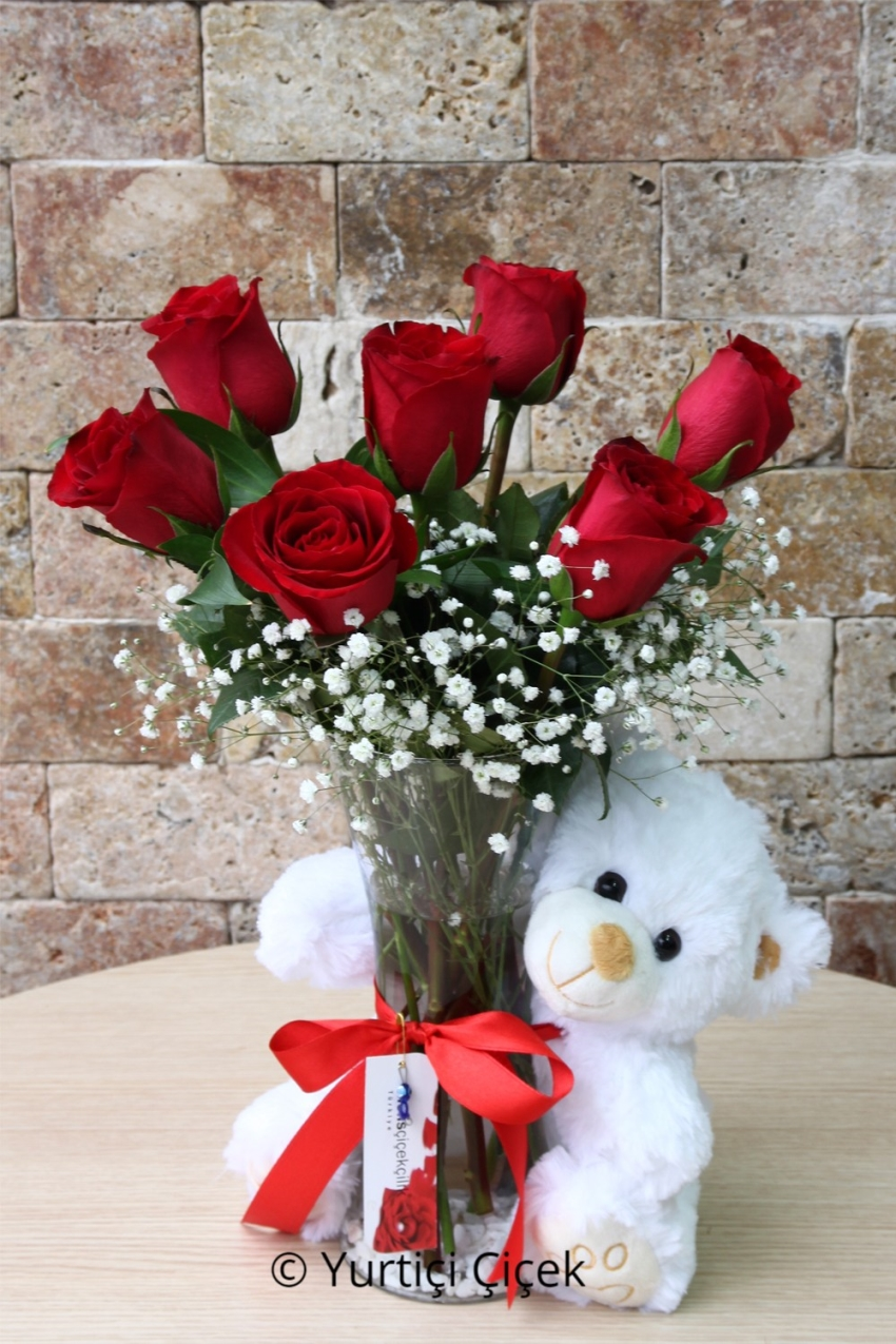 Plush teddy bear with red roses and tell your love is much nicer flowers 150 izmirmasajfo